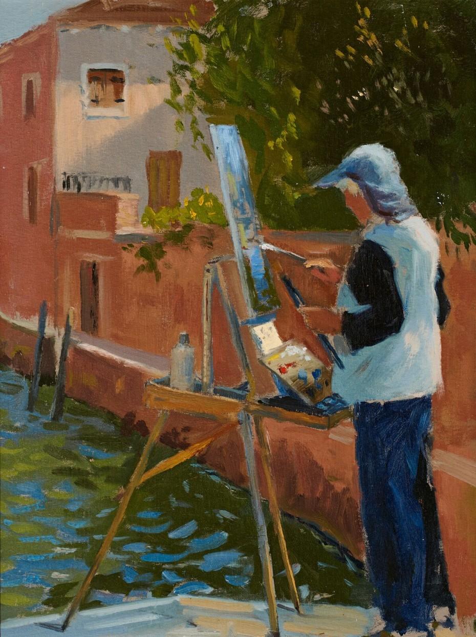 Ken Howard RA painting In Venice