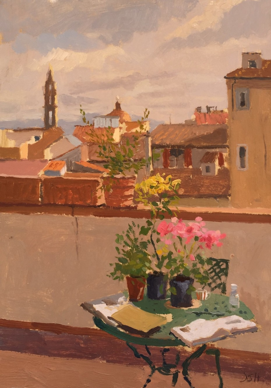 Morning Light Florence Roof Tops and Flowers from the Santo Spirito Market