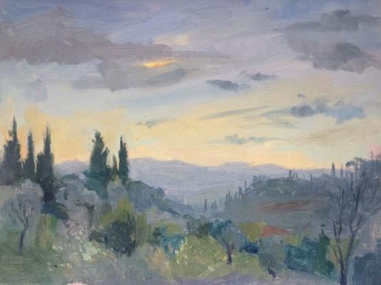 Pian Dei Giullari hills at Dusk