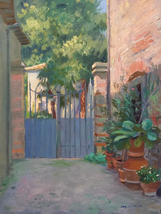 Morning colours by the gate, Panzano