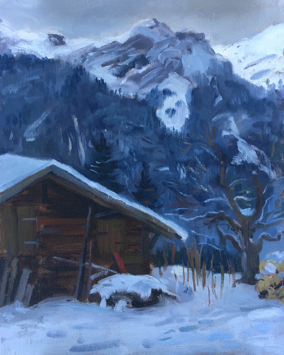 Overcast Evening by an Old Chalet in Wengen