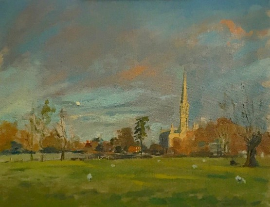 Evening Light, Salisbury Cathedral Beyond