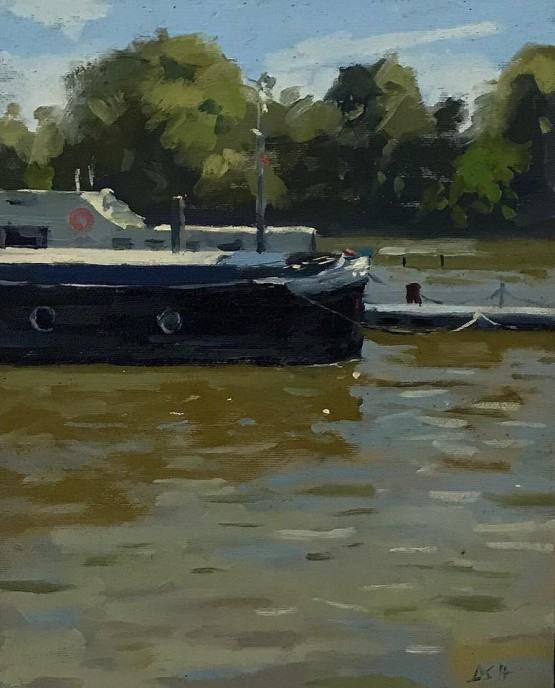 Afternoon Light, Boats by the Chelsea Embankment
