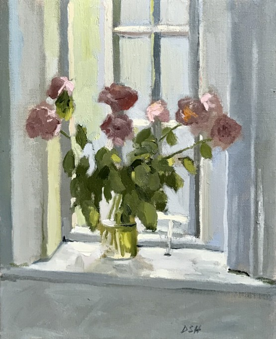Peonies by the windowsill