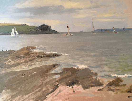 Watching the working boats at sea and the amazing Spinnakers, St Mawes