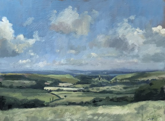 Early morning light, distant Corfe Castle