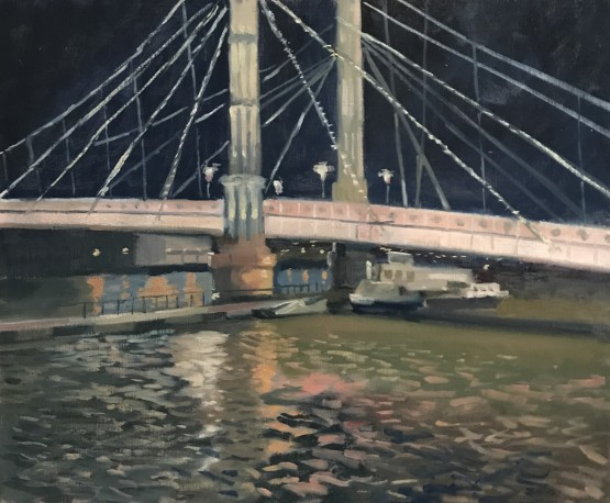 The Albert Bridge, night time reflections