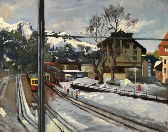 Wengen Train Station, January Morning Light