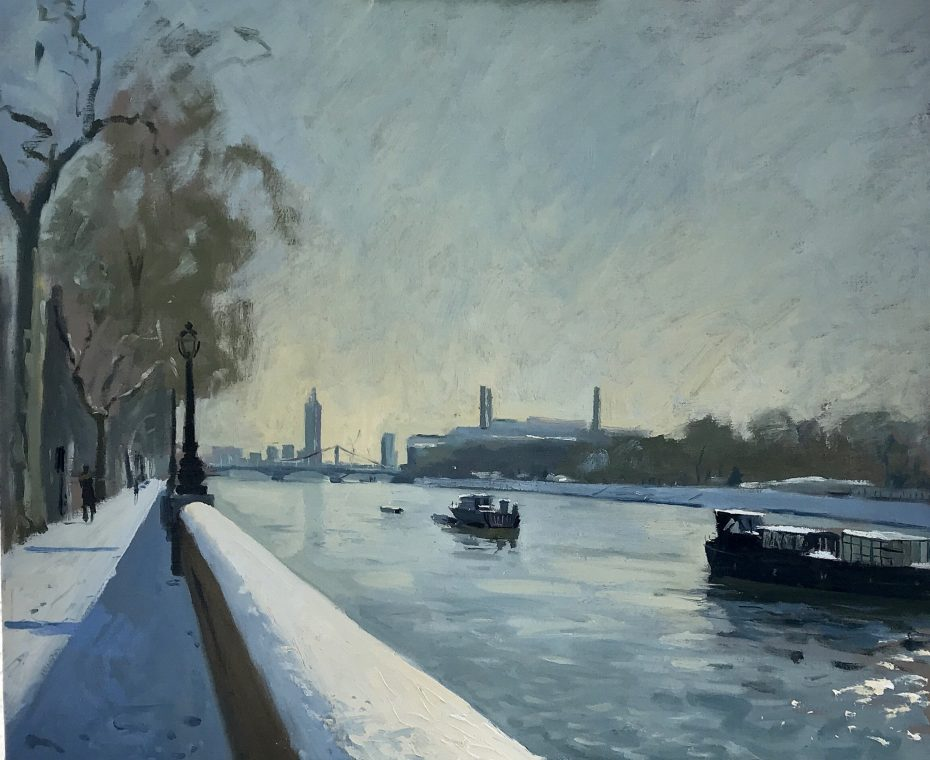 Early Morning Light Effect with Snow, Chelsea Embankment