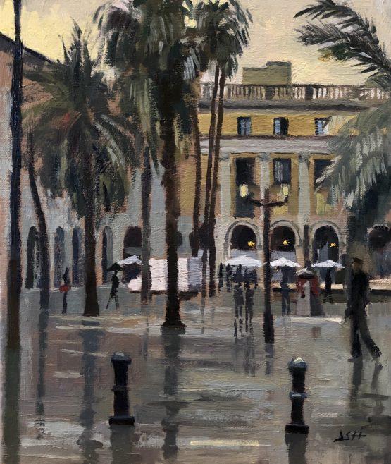Placa Reial rain effect, Barcelona