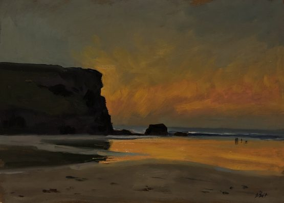 Sunset Reflections on Mawgan Porth Beach