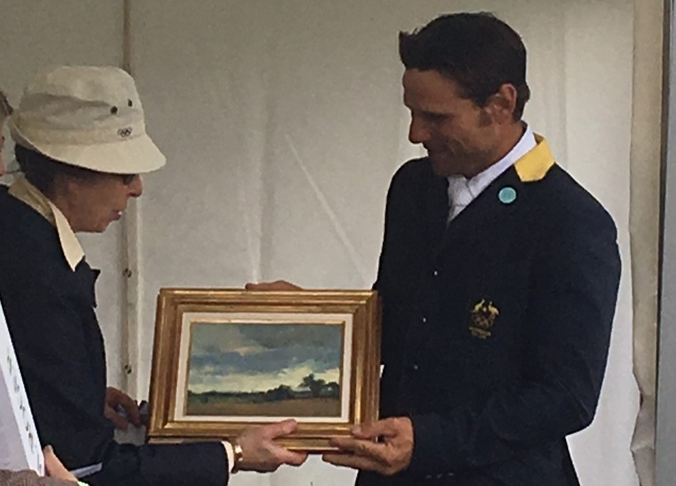 HRH The Princess Royal presenting an original DSH pleinair landscape as a prize to the winner of the Advanced Class at the Gatcombe Festival of British Eventing