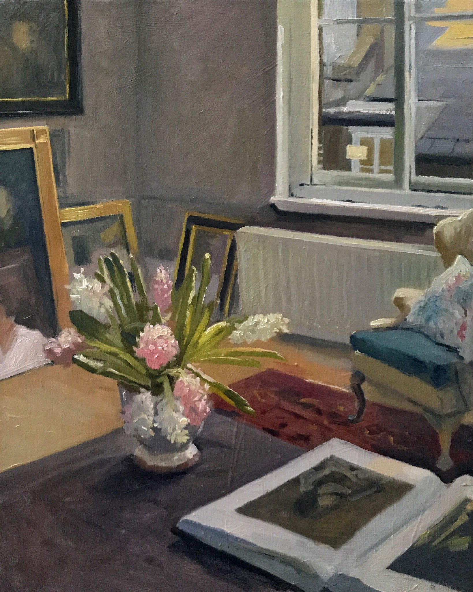 Morning Light in the Studio with Velasquez Book and Hyacinths