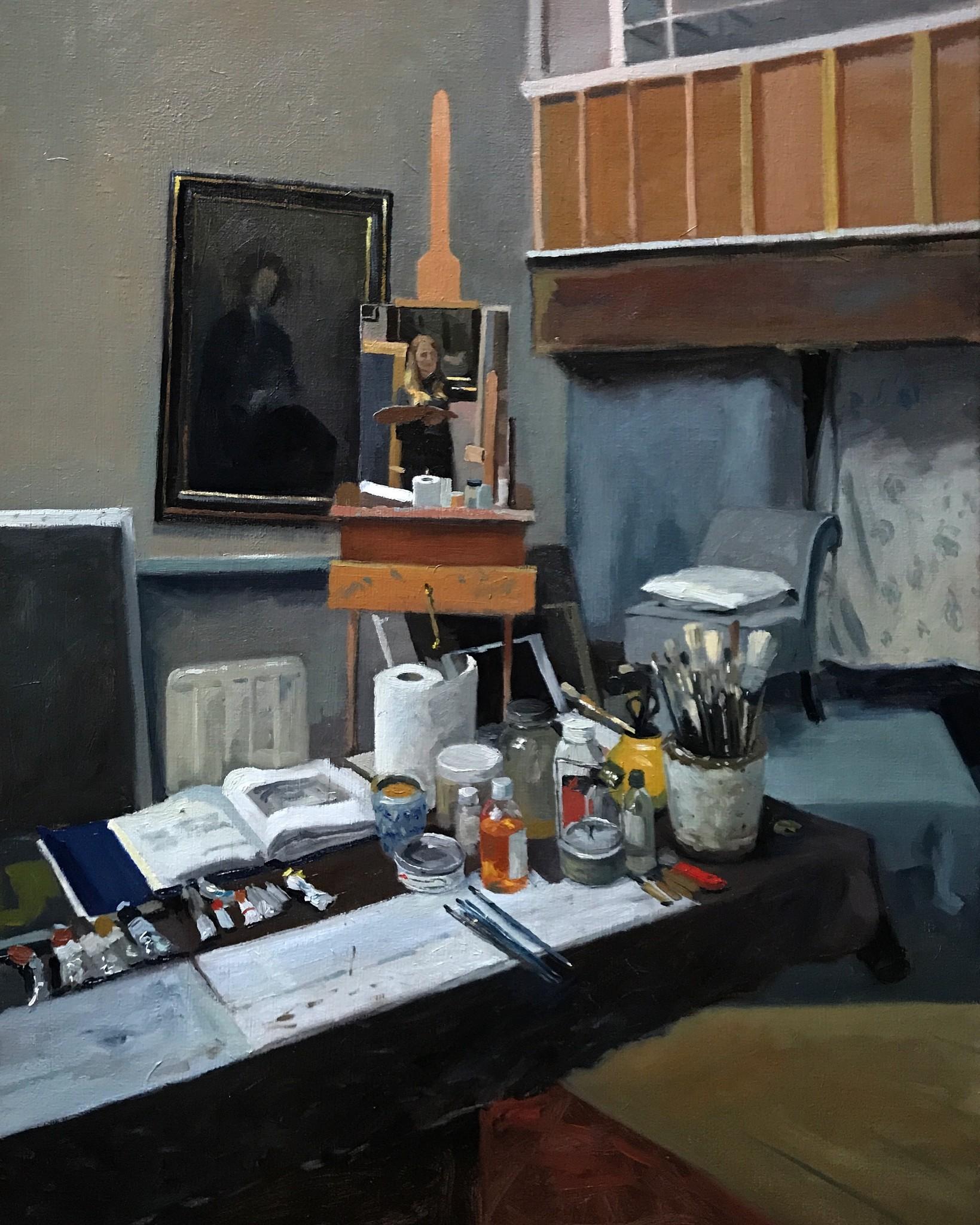 Studio Interior, Self Portrait in Mirror