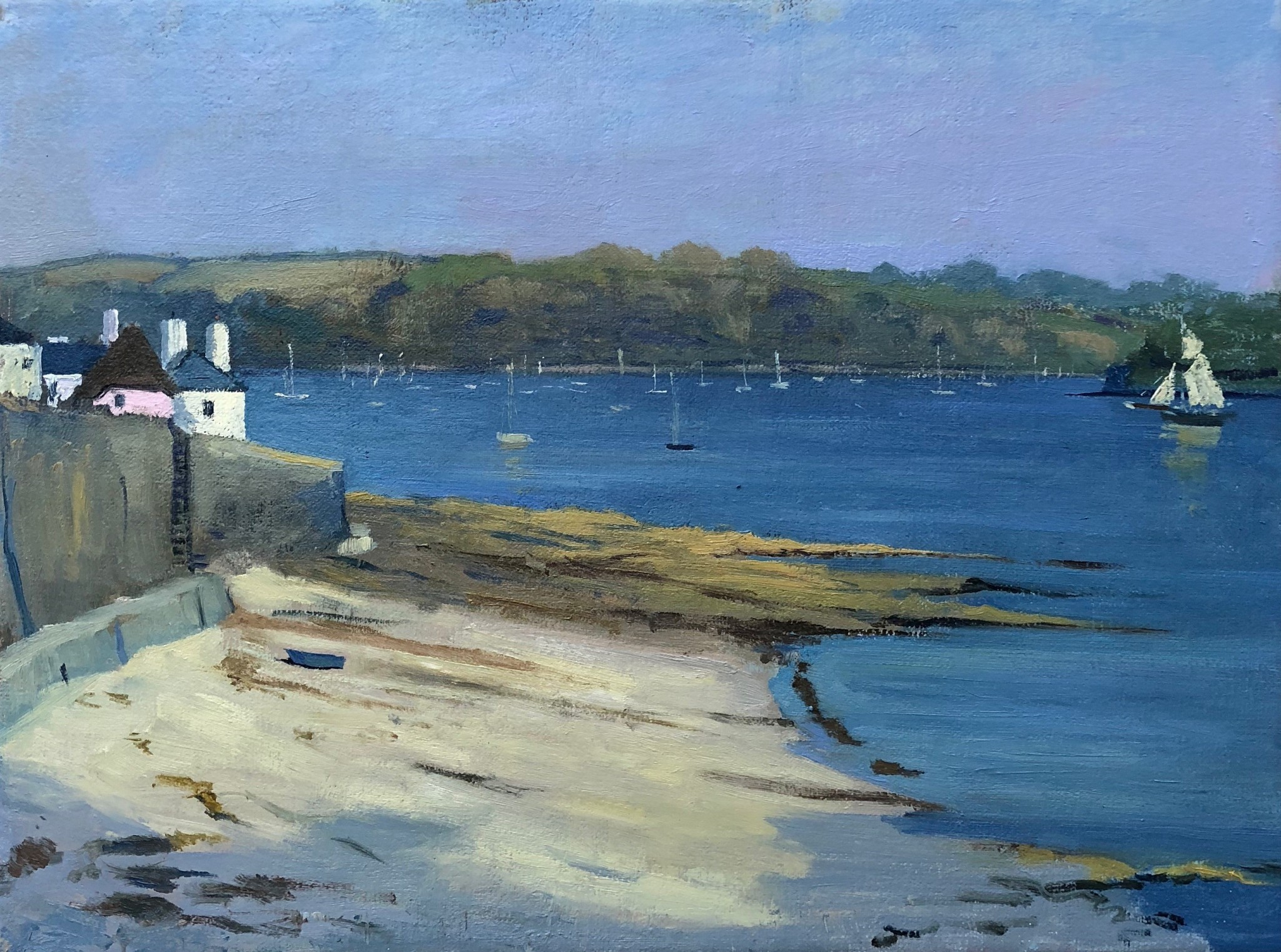 Evening Light on Tresanton Beach And the Sails of a Working Boat coming into Harbour