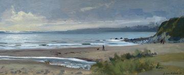 Dog walking on Pendower beach, silvery light