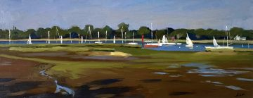 Evening light on the Hamble River with Red Sailing Boat