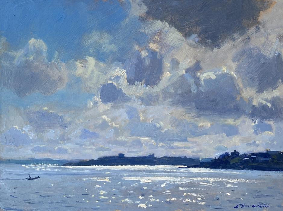 Blue sky with storm clouds over Pendennis Castle