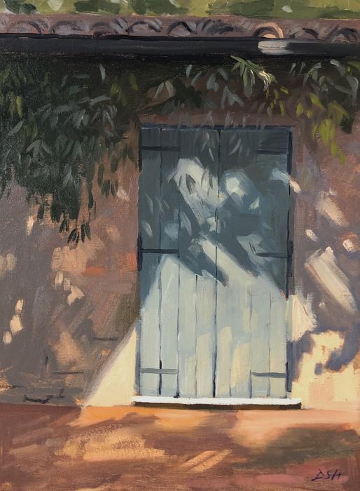 Dappled light on blue shutters, Cetona