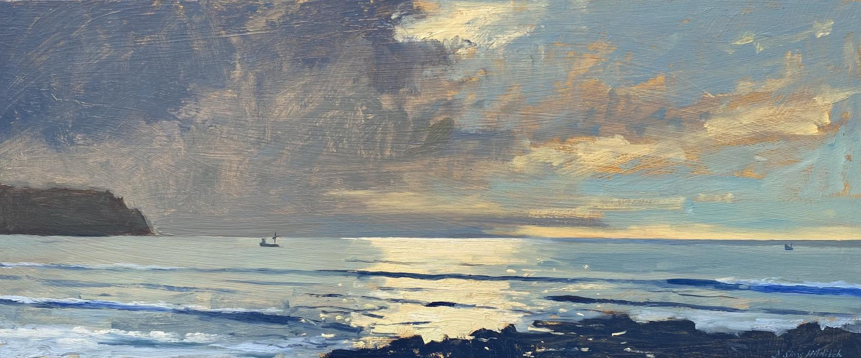 Early morning light Impression with fishing boats, Pendower beach