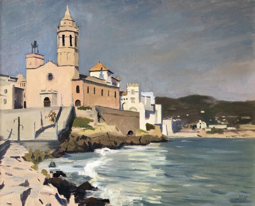 Afternoon light on the church of Sant Bartomeu & Santa Tecla, Sitges