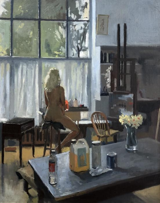 Sarah at Ken Howard's studio