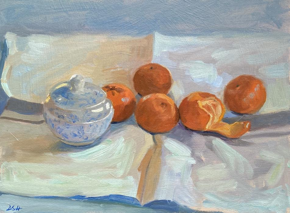 Clementines with Blue China